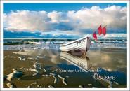 Postkarte Sonnige Grüße von der Ostsee (Boot)
