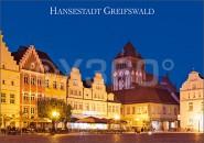 Postkarte Hansestadt Greifswald Abend