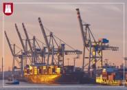 Postkarte Containerschiffe im Morgenlicht