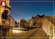 Postkarte beleuchtete Speicherstadt
