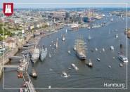 Postkarte Hafen mit Landungsbrücken