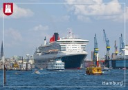 Postkarte Hafen mit Queen Marry II