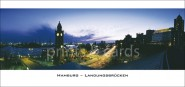 XL-Postkarte Landungsbrücken im Abendlicht