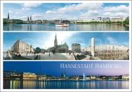 Postkarte Hansestadt Hamburg 3 Motive
