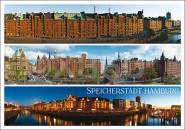 Postkarte Speicherstadt Hamburg 3 Motive