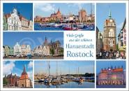 Postkarte Viele Grüße Hansestadt Rostock (Mischkarte)
