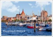 Postkarte Hansestadt Rostock Hafen mit Kirche
