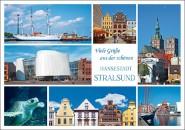 Postkarte Viele Grüße Hansestadt Stralsund