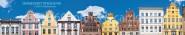 Panoramapostkarte Stralsund Giebelhäuser