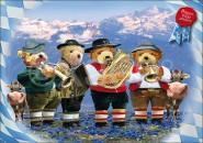 Postkarte Blasmusik-Teddys