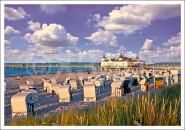 Postkarte Seebrücke mit Strandkörben