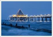 Postkarte Seebrücke Abendlicht
