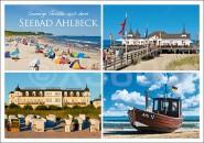 Postkarte Sonnige Grüße Seebad Ahlbeck