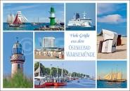 Postkarte Viele Grüße aus dem Ostseebad Warnemünde