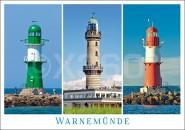 Postkarte Warnemünde Leuchttürme