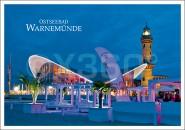 Postkarte Teepot mit Leuchtturm Abend