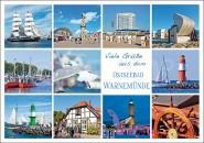 Postkarte Viele Grüße aus Warnemünde (Mischkarte)