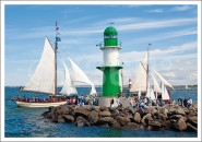 Postkarte Grüner Leuchtturm