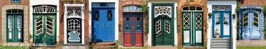 Panoramapostkarte friesische Türen