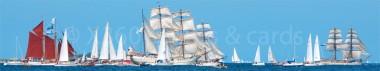 Panoramapostkarte Windjammer