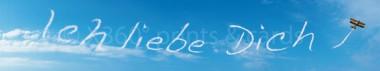 Panoramapostkarte Ich liebe Dich (Wolken)