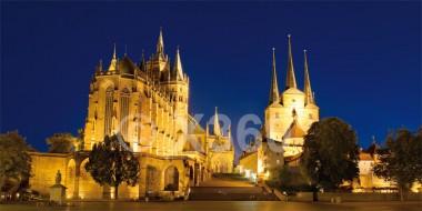 XL-Postkarte Erfurt Dom im Abendlicht