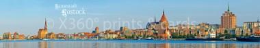 Panoramapostkarte Rostock Stadtsilhouette