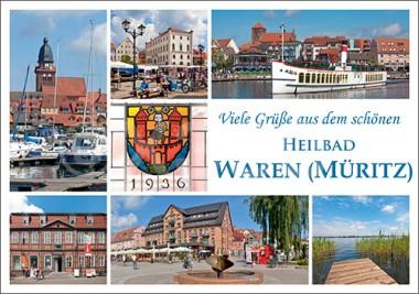 Postkarte Viele Grüße aus dem schönen Heilbad Waren