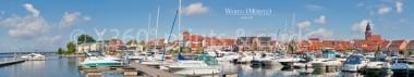 Panoramapostkarte Waren(Müritz) Hafenpanorama