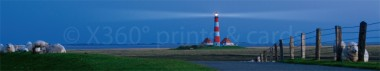 Panoramapostkarte Leuchtturm Westerhever abend