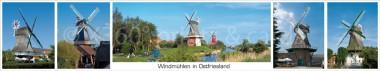 Panoramapostkarte Ostfriesland Windmühlen