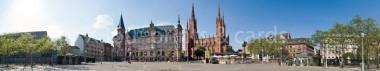Panoramapostkarte Wiesbaden Marktplatz