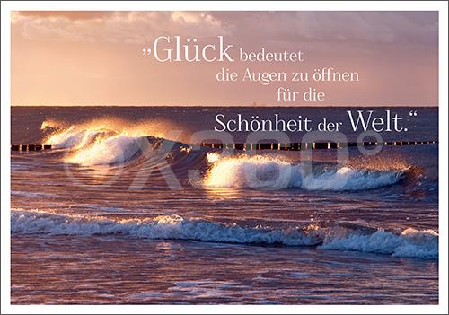 Postkarte Wellen (Glück bedeutet...)