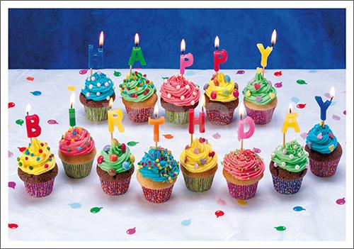 Postkarte Happy Birthday Cupcake