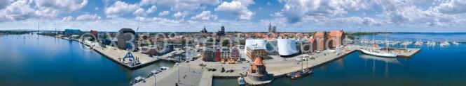 Panoramapostkarte Stralsund Hafen-& Stadtüberblick