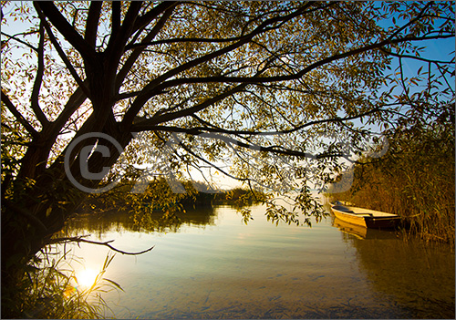 Postkarte Boot auf dem See