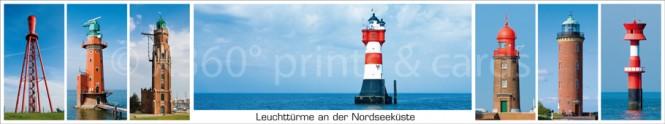 Panoramapostkarte Leuchttürme NI