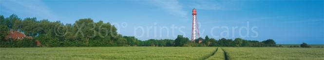 Panoramapostkarte Campener Leuchtturm