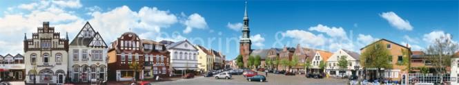 Panoramapostkarte Tönning Markt